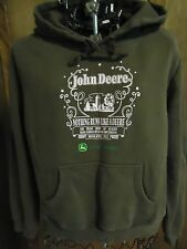 Womens L (11/13) John Deere Brown Hooded Sweatshirt Pink John Deere Picture/Logo