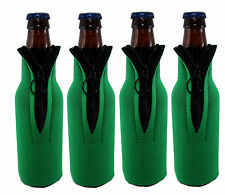 Beer Bottle Koozies Collapsible Green Coolers Zipper Wetsuit Drink Holder 4 Pack