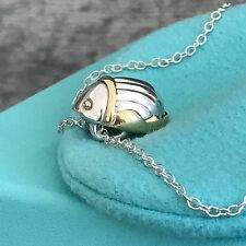 Tiffany Silver Gold Scarab Necklace