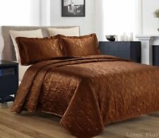3 Piece Silky Satin Brown Quilted Bedspread Coverlet Set Queen Size
