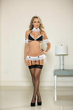 Sexy Black White French Maid Naughty Bra Lingerie Set UK 8-12 1559 Garterbelt