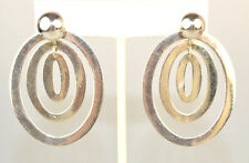 STERLING SILVER LARGE TRIPLE OVAL HOOP EARRING JACKETS WITH 10 MM BALL STUDS