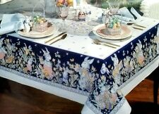 """Easter Bunny Family Oblong Cotton Tablecloth 60"""" x 104"""" Home Statements Tulips"""