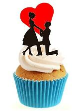 Novedad compromiso Romance Corazón 12 Comestibles Stand Up Oblea papel Cake Toppers