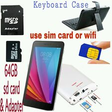 "7"" Inch SIM Phone Call Tablet PC Quad Core Dual WiFi/Camera GPS with case and sd"