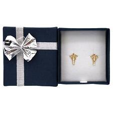14K Yellow Gold Caduceus Stud Earrings with Bow Tie Jewelry Gift Box