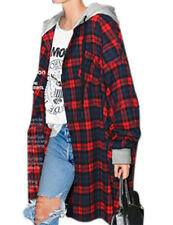 Women's Mid long Hooded Coat Long Sleeve Plaid Hoodie Oversized Jacket Outwear