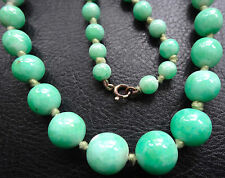 antique vintage art deco chunky peking green glass knotted bead necklace -N40