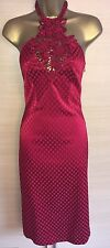 Exquisite Karen Millen Red Jacquard Origami Midi Dress Uk10