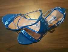 NEW with box steve madden fayy sandals / heels size 8.5 blue patent blu
