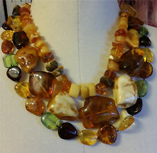 Natural Lithuanian Baltic Honey Cognac Cherry Yellow Amber 3  Bib Necklace Set