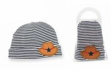 Mud Pie Baby Boy Hat Blue and White Striped with Cowboy Hat Applique  NEW