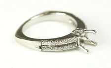 Authentic Designer A. Jaffe 18K White Gold Semi Mount Diamond Ring Size 8
