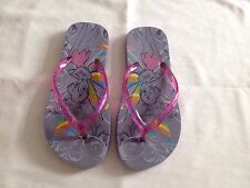 Disney Girls' Tinkerbell Pink & Grey Flip Flops Sandals Size 4 UK Very Nice