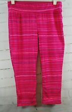 HIND Capri/Crop Fitness Tights / Workout - Bright Pink Stripe Womens Size Medium