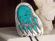 """EXQUISITE NAVAJO NICKLE DRAGON FLY TURQUOISE BEAR PAW BOLO-TIE 4.75""""X 3.15"""""""