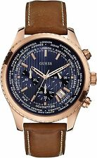 Guess Man woman Watch Man Uhr Pursuit W0500G1 Crono Blue Brown Leather Copper
