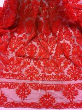 "RED BEADED & SEQUINS BRIDAL LACE CORDED FABRIC 50"" WIDE 1 YD"