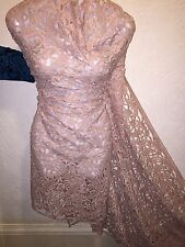 "5 MTR NUDE/BEIGE CHEMICAL GUIPUER BRIDAL LACE FABRIC...45"" WIDE £59.99"