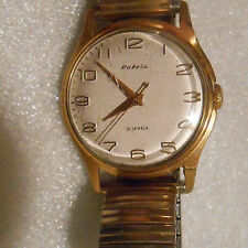 vintage Russian Raketa mens gold plated 21 jewel wristwatch running