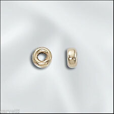 3mm Gold-Filled Flat Dount Rondelle Beads (10) Made in U.S.A.