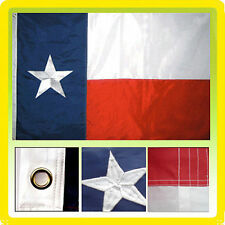 8x12 Ft Texas State Solarmax Nylon Embroidered Sewn TX Lone Star Flag with clips