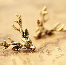 FD2584 Retro Vintage Copper Deer Antler X'mas Holiday Earring Stud Jewelry Gift