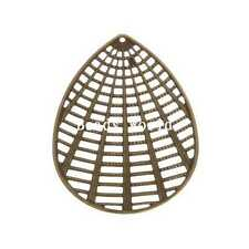 30 Pcs Bronze Tone Filigree Oval Connector Embellishments Findings 60x43mm