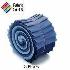 "20 x 2.5"" 5 Blues Jelly Roll PreCut Fabric Strips, 2.5 inch x WOF, Die Cut"