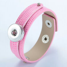 Hot Chunk Punk Leather Bangle Bracelets drill fit for Noosa Snaps Charm Button