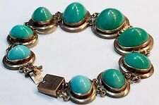 BIG cabs untreated Turquoise Victorian to Art Deco 14k 15k rose gold bracelet