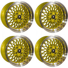 15x8 MST MT16 4x100 20 Gold Machine Lip Wheel New set(4)