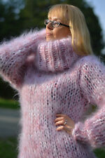 DUKYANA Hand Knitted Mohair Sweater New Jumper Thick Pullover PINK Tneck CHUNKY