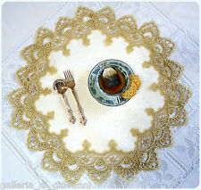 "24 CARAT GOLD DOILY  & White 23"" Lace  A Formal Affair Estate Design"