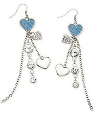 NWT Guess Silver Metal-Denim Inserts-Clear Rhinestones Dangling Charm Earrings