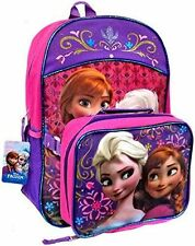 """Disney Princess Frozen Elsa Anna 16"""" inches backpack & Lunch Box Licensed - NEW"""