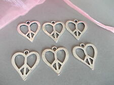 6 X HEART PEACE CHARMS, SILVER COLOR TIBETAN METAL CHARMS/PENDANTS