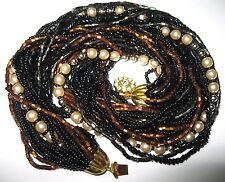 Gorgeous VINTAGE Gold Black Pearl GLASS BEAD 27 Row Costume Jewellery NECKLACE