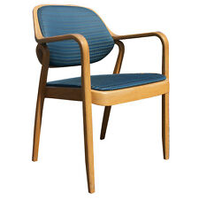(1) Knoll Don Petitt 1105 Side Chair Bent Oak Wood Blue