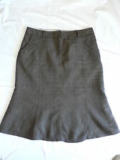 SIZE 14 16 YOUR SIXTH SENSE FINEST QUALITY BY C&A BROWN A LINE 100%  LINEN SKIRT