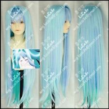 The latest long straight wig light green gradient ice blue cosplay wig