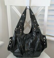 HYPE Black Faux Snake Embossed Leather 3 Compartment Studded Hobo Handbag Purse