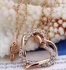 Heart Shaped Pendant Necklace Crystal Rose Gold with FREE Velvet Pouch UK Seller