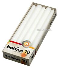 BOLSIUS BOX OF 10 WHITE NON-DRIP TAPERED CANDLES, 7.5Hr BURN TIME!