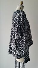 Preen Silver Abstract Printed High and Low Long Sleeve Knit Top Sz S
