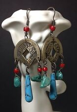 Brass and Turquoise Asian Eastern Inspired Dangle Earrings