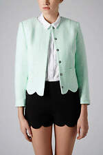 TOPSHOP MINT WOVEN TWEED BETTY SCALLOP HEM CROP JACKET 16 44 12!