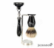 Shaving Mach3 Razor, Silvertip Badger Shaving Brush and Stand Set