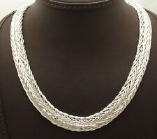 "18"" Bold All Shiny Polished Wheat Spiga Necklace Chain Real Sterling Silver 925"