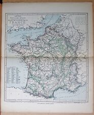 1883  ANTIQUE MAP - FRANCE, RAILWAY AND STATISTICAL MAP